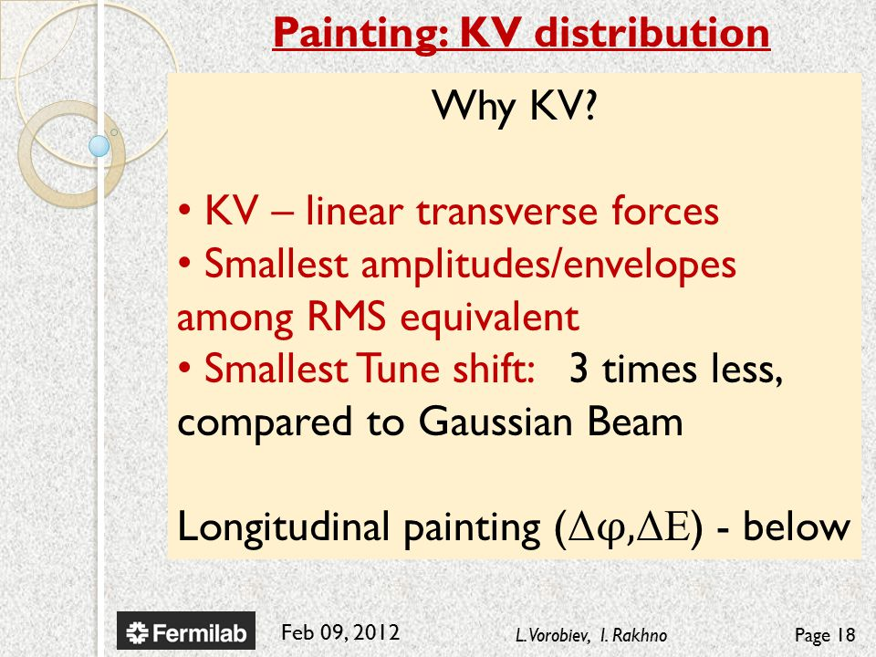 Feb 09, 2012 L. Vorobiev, I. RakhnoPage 18 Painting: KV distribution Why KV.