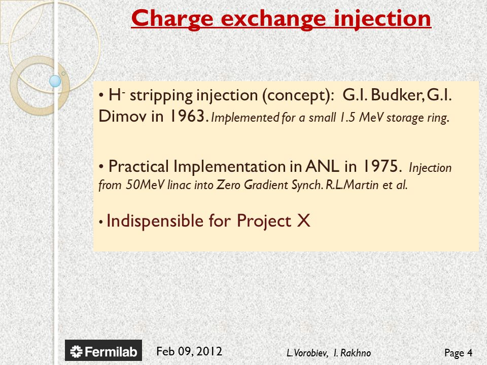 Feb 09, 2012 L. Vorobiev, I. RakhnoPage 4 H - stripping injection (concept): G.I.