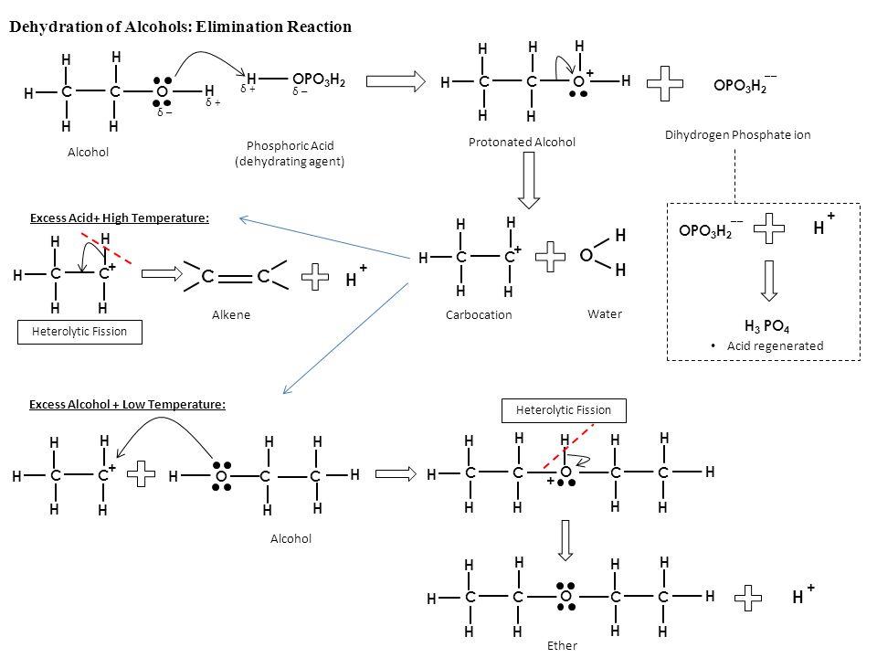 Dehydration of Alcohols: Elimination Reaction O H H CC H H H H H + Carbocation Water CC H H H H H O H HOPO 3 H 2 δ –δ – δ –δ – δ +δ + δ +δ + H CC H H