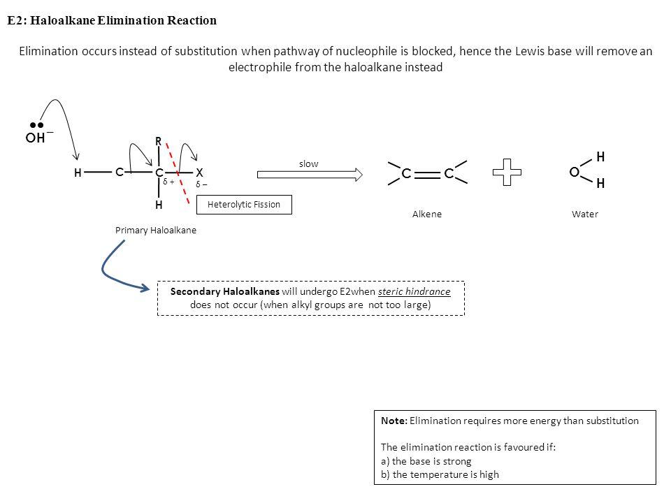 E2: Haloalkane Elimination Reaction slow C C H X R δ –δ – δ +δ + Heterolytic Fission Primary Haloalkane CC O H H AlkeneWater Secondary Haloalkanes wil