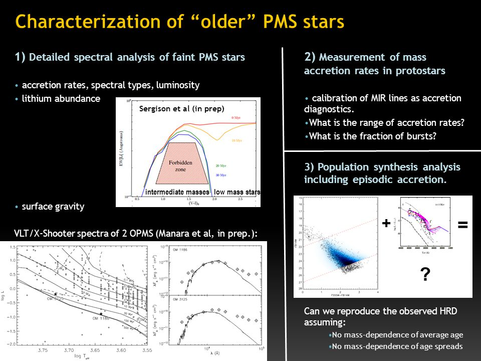 1) Detailed spectral analysis of faint PMS stars accretion rates, spectral types, luminosity lithium abundance surface gravity VLT/X-Shooter spectra of 2 OPMS (Manara et al, in prep.): 2) Measurement of mass accretion rates in protostars calibration of MIR lines as accretion diagnostics.