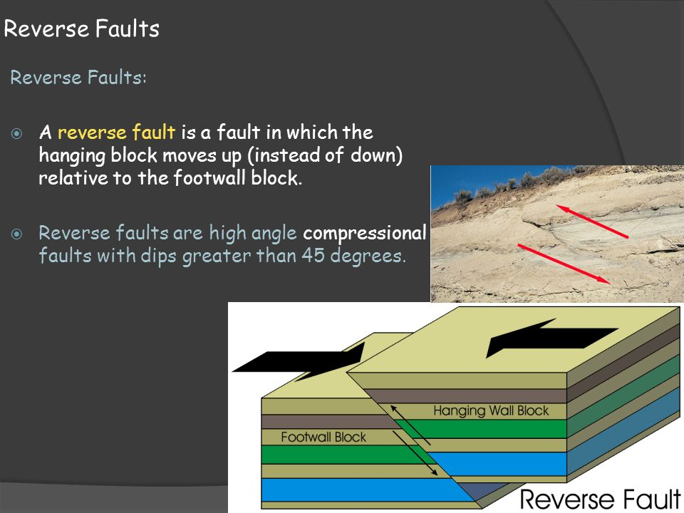Reverse Faults Reverse Faults:  A reverse fault is a fault in which the hanging block moves up (instead of down) relative to the footwall block.
