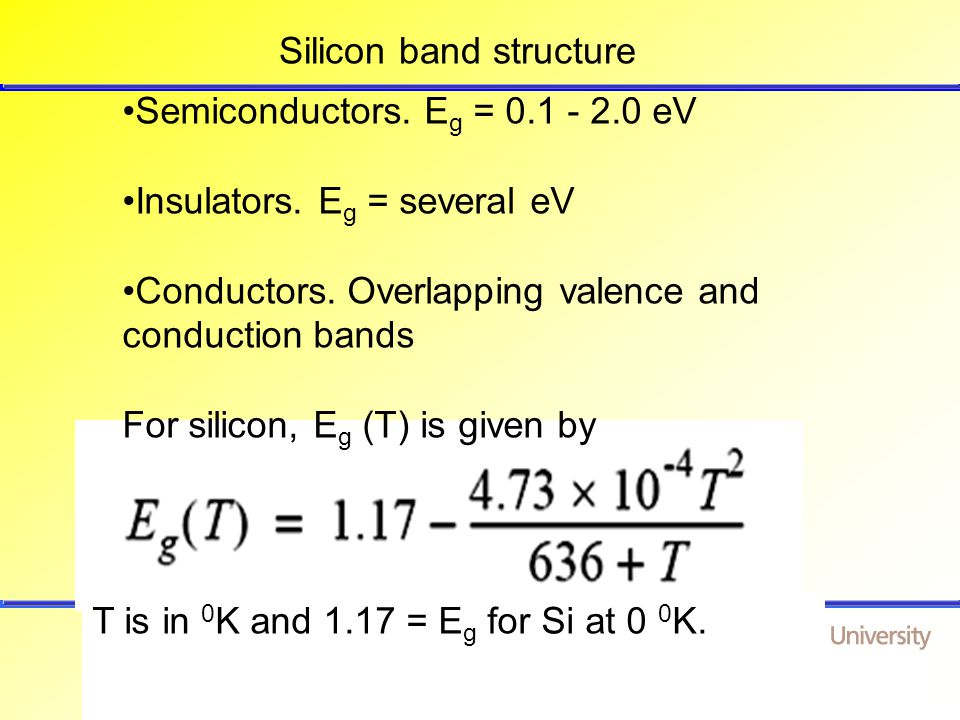 School of Electrical and Electronic Engineering Queen's University Belfast, N.Ireland Silicon band structure Semiconductors.
