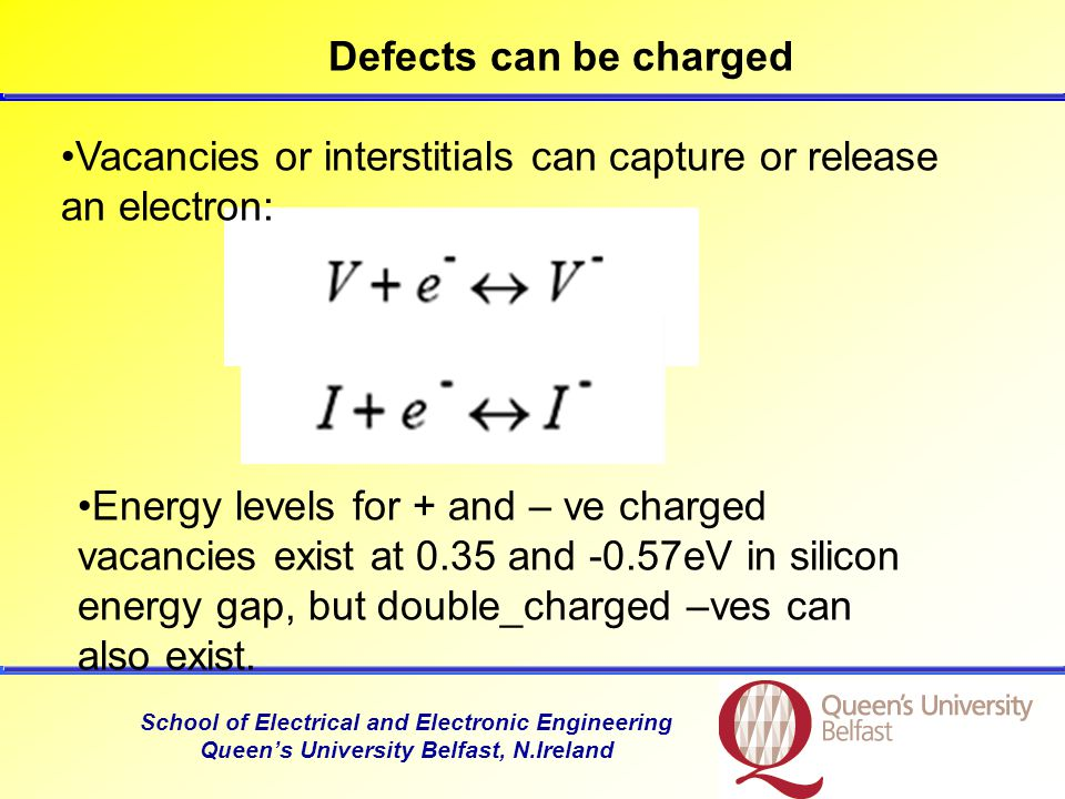 School of Electrical and Electronic Engineering Queen's University Belfast, N.Ireland Defects can be charged Vacancies or interstitials can capture or release an electron: Energy levels for + and – ve charged vacancies exist at 0.35 and -0.57eV in silicon energy gap, but double_charged –ves can also exist.