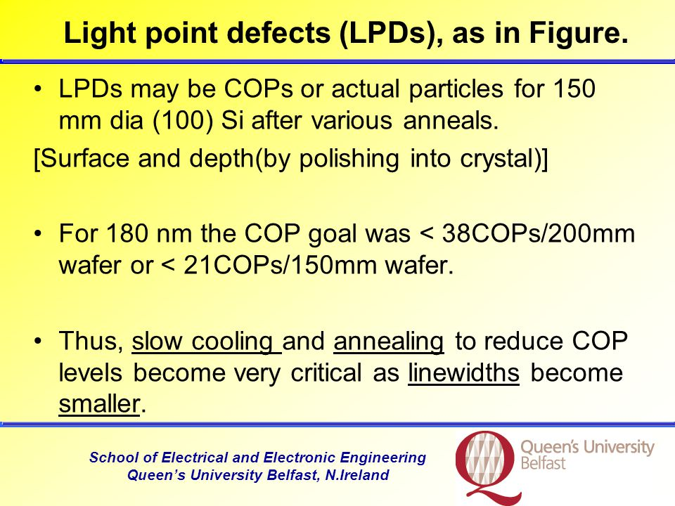 School of Electrical and Electronic Engineering Queen's University Belfast, N.Ireland Light point defects (LPDs), as in Figure.