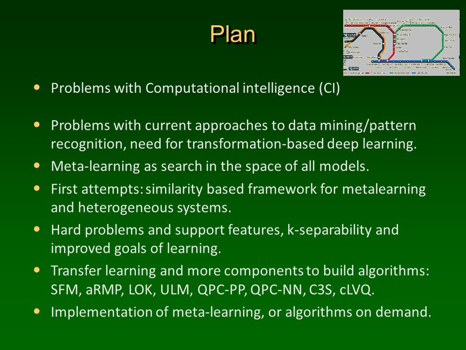 PlanPlan Problems with Computational intelligence (CI) Problems with current approaches to data mining/pattern recognition, need for transformation-based deep learning.
