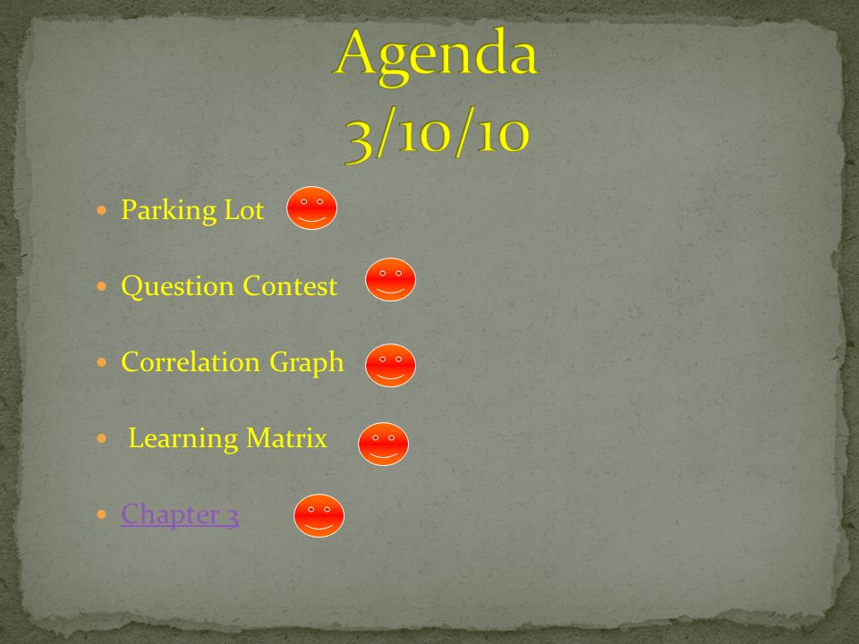 Parking Lot Question Contest Correlation Graph Learning Matrix Chapter 3