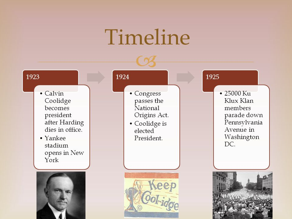  1923 Calvin Coolidge becomes president after Harding dies in office.