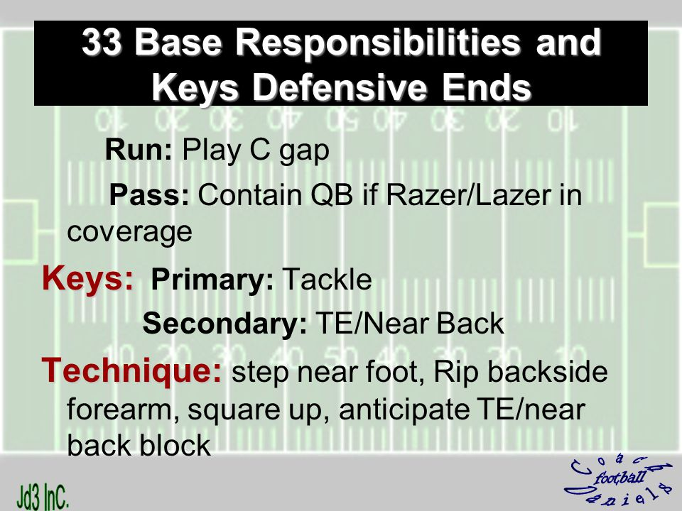 Run: Play C gap Pass: Contain QB if Razer/Lazer in coverage Keys: Keys: Primary: Tackle Secondary: TE/Near Back Technique: Technique: step near foot, Rip backside forearm, square up, anticipate TE/near back block 33 Base Responsibilities and Keys Defensive Ends