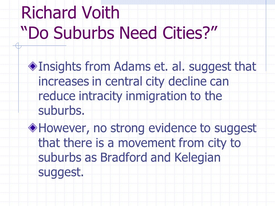Richard Voith Do Suburbs Need Cities Insights from Adams et.