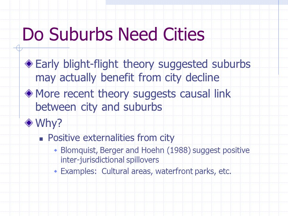 Do Suburbs Need Cities Early blight-flight theory suggested suburbs may actually benefit from city decline More recent theory suggests causal link between city and suburbs Why.