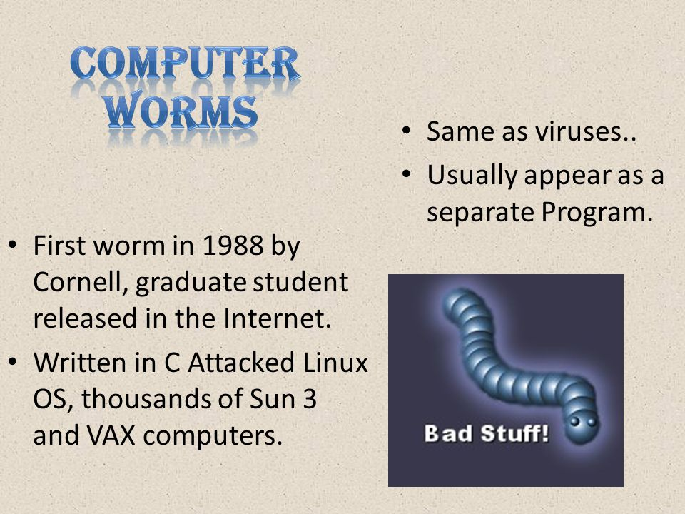 First worm in 1988 by Cornell, graduate student released in the Internet.