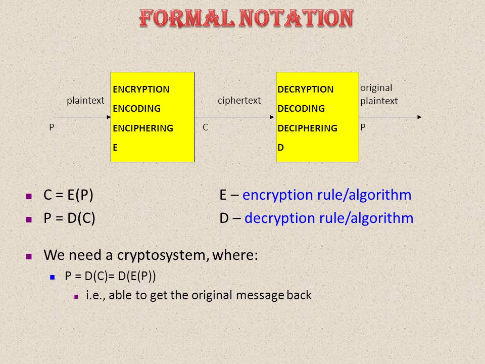 C = E(P)E – encryption rule/algorithm P = D(C)D – decryption rule/algorithm We need a cryptosystem, where: P = D(C)= D(E(P)) i.e., able to get the original message back plaintextciphertext original plaintext ENCRYPTION ENCODING ENCIPHERING E DECRYPTION DECODING DECIPHERING D PCP