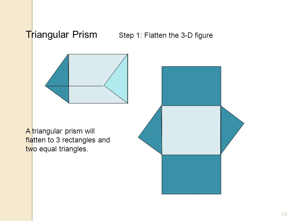 13 Triangular Prism A triangular prism will flatten to 3 rectangles and two equal triangles. Step 1: Flatten the 3-D figure