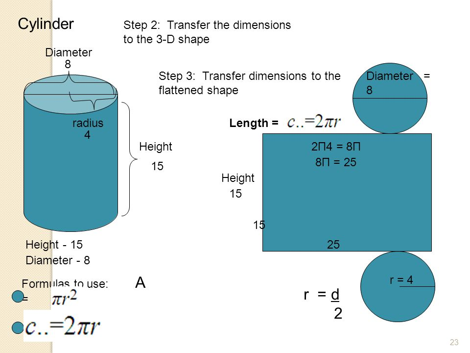 23 Cylinder Step 2: Transfer the dimensions to the 3-D shape Height - 15 Diameter - 8 Formulas to use: A = 15 Height Diameter 8 r = d 2 Height 15 r =