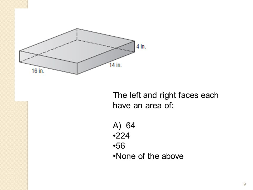 9 The left and right faces each have an area of: A) 64 224 56 None of the above