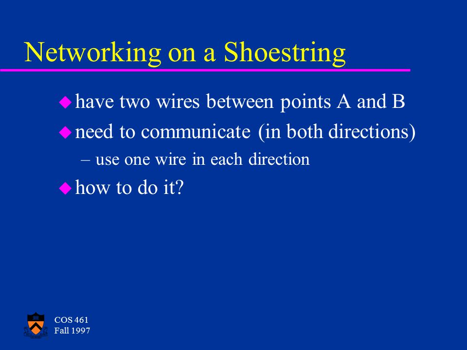 COS 461 Fall 1997 COS 461: Networks and Distributed Computing u Prof.
