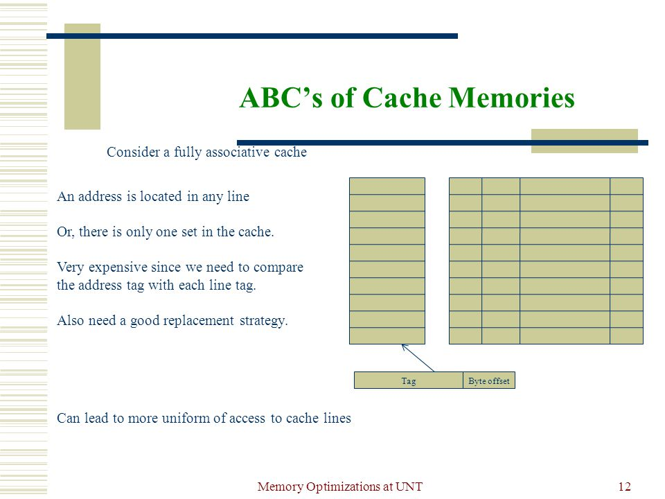 Memory Optimizations at UNT12 ABC's of Cache Memories Consider a fully associative cache An address is located in any line Or, there is only one set in the cache.