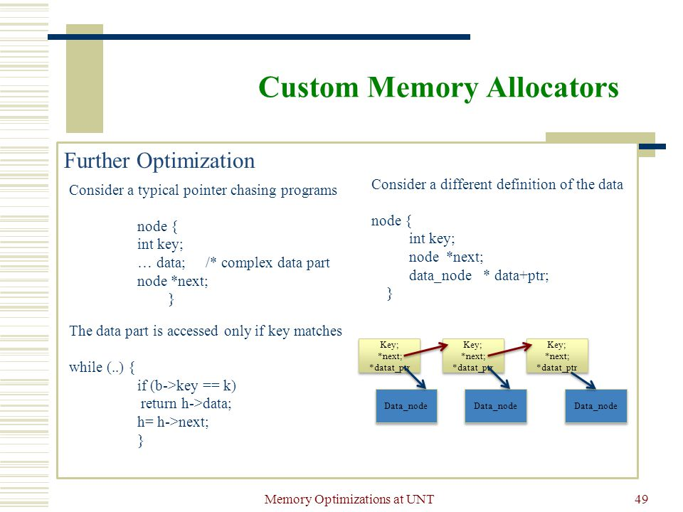 Memory Optimizations at UNT49 Custom Memory Allocators Further Optimization Consider a typical pointer chasing programs node { int key; … data; /* complex data part node *next; } The data part is accessed only if key matches while (..) { if (b->key == k) return h->data; h= h->next; } Consider a different definition of the data node { int key; node *next; data_node * data+ptr; } Key; *next; *datat_ptr Key; *next; *datat_ptr Key; *next; *datat_ptr Key; *next; *datat_ptr Key; *next; *datat_ptr Key; *next; *datat_ptr Data_node