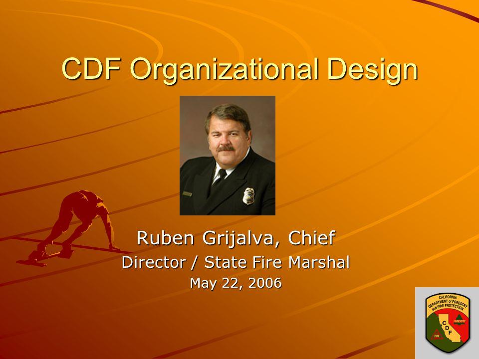 CDF Organizational Design Ruben Grijalva, Chief Director / State Fire Marshal May 22, 2006