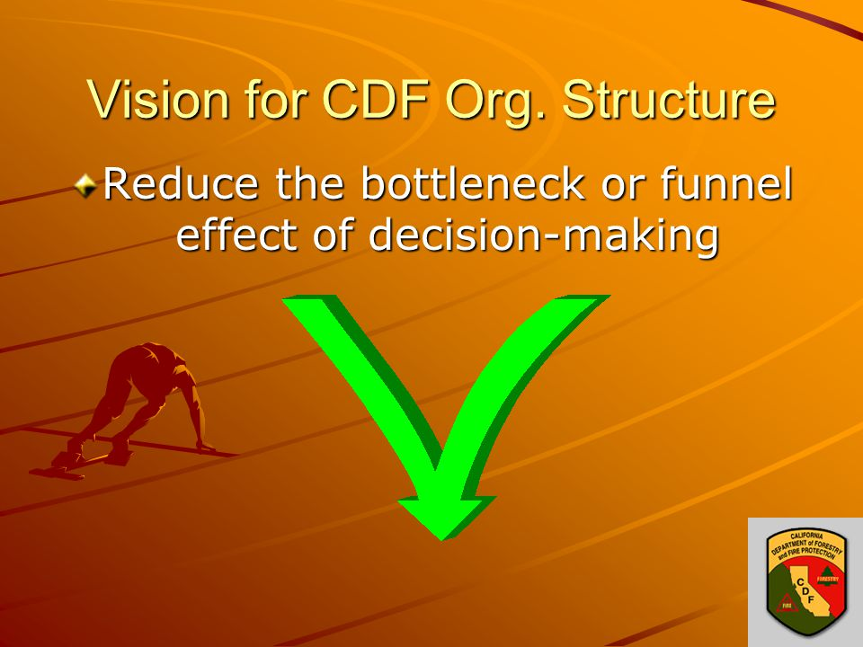 Vision for CDF Org. Structure Reduce the bottleneck or funnel effect of decision-making