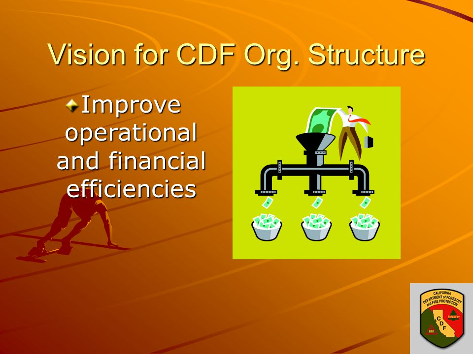 Vision for CDF Org. Structure Improve operational and financial efficiencies