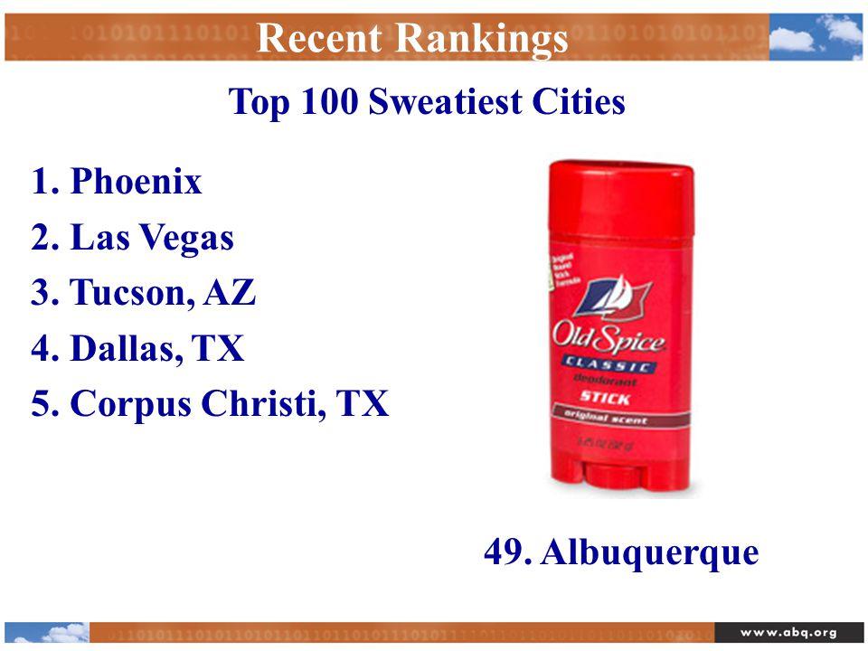 Recent Rankings 1.Phoenix 2. Las Vegas 3. Tucson, AZ 4.