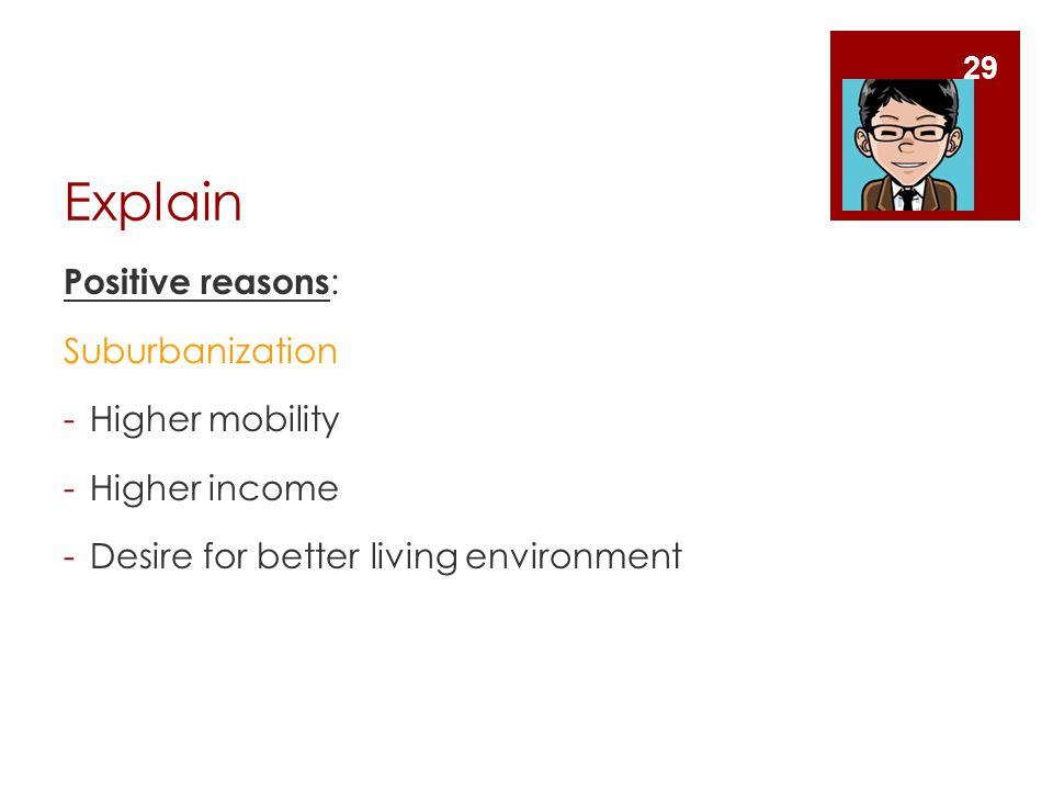 Explain Positive reasons : Suburbanization -Higher mobility -Higher income -Desire for better living environment 29