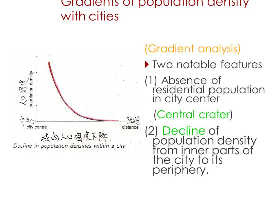 Gradients of population density with cities (Gradient analysis)  Two notable features (1) Absence of residential population in city center (Central crater) (2) Decline of population density from inner parts of the city to its periphery.