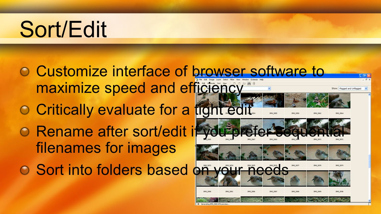 Sort/Edit Customize interface of browser software to maximize speed and efficiency Critically evaluate for a tight edit Rename after sort/edit if you