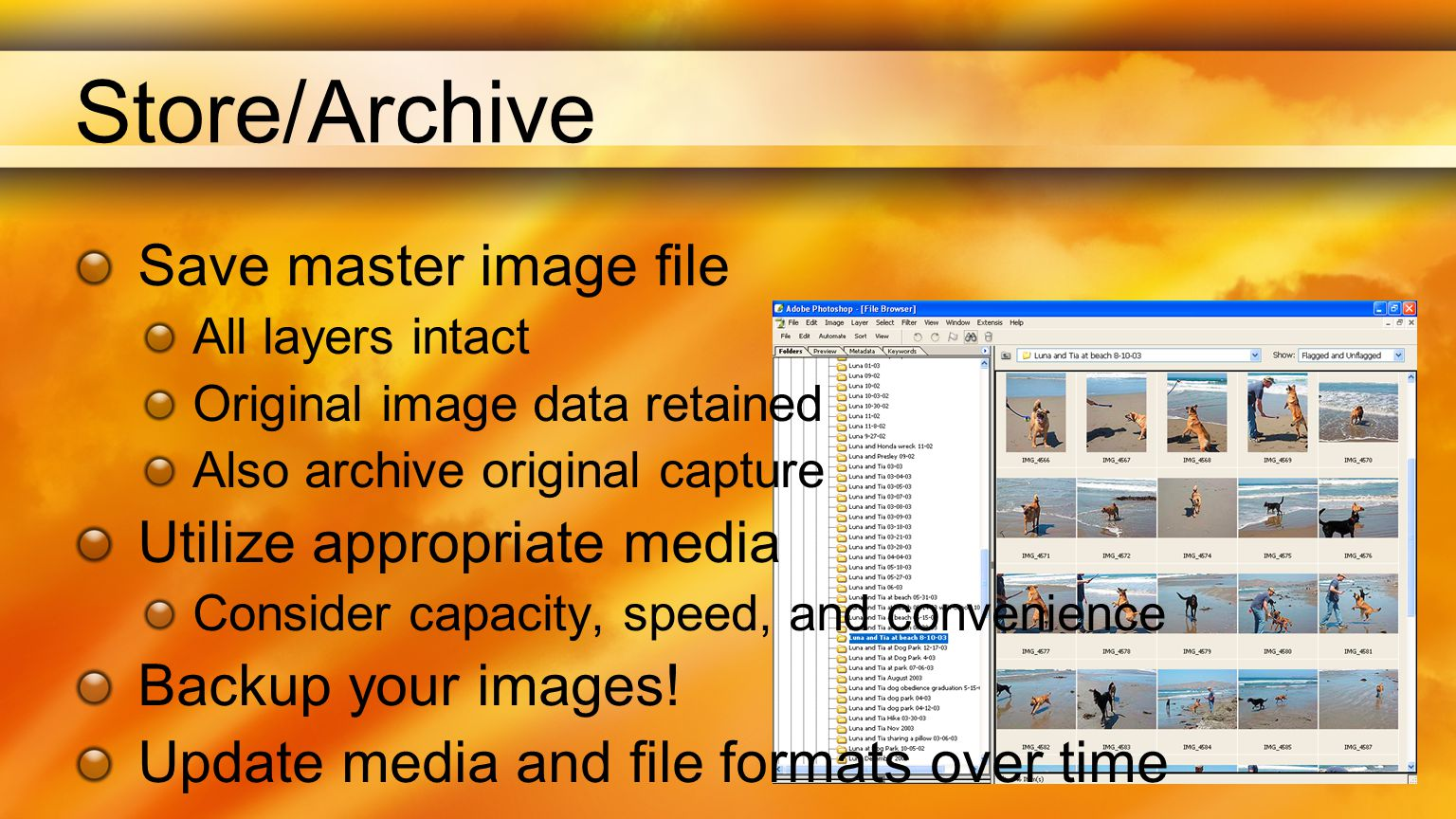 Store/Archive Save master image file All layers intact Original image data retained Also archive original capture Utilize appropriate media Consider capacity, speed, and convenience Backup your images.