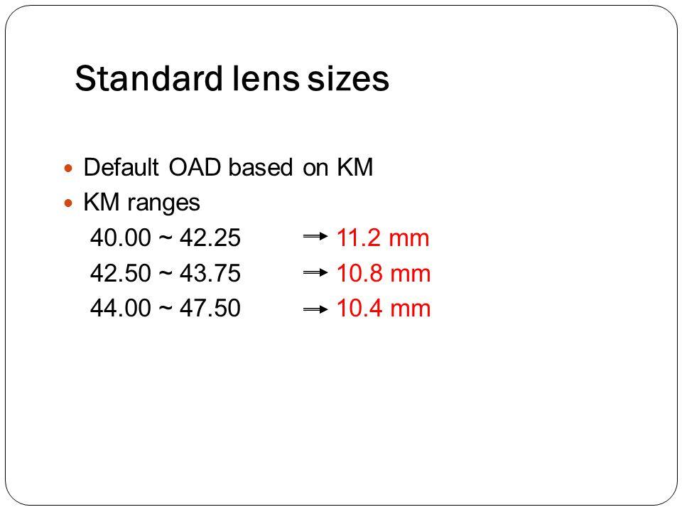 Standard lens sizes Default OAD based on KM KM ranges 40.00 ~ 42.25 11.2 mm 42.50 ~ 43.75 10.8 mm 44.00 ~ 47.50 10.4 mm