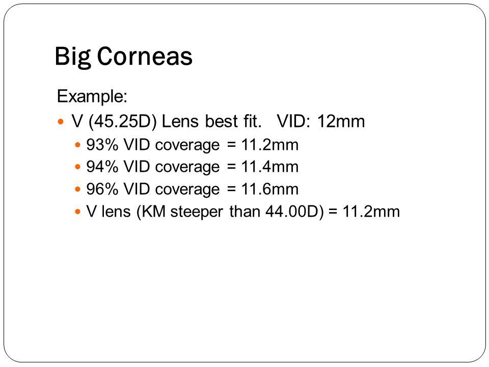 Big Corneas Example: V (45.25D) Lens best fit. VID: 12mm 93% VID coverage = 11.2mm 94% VID coverage = 11.4mm 96% VID coverage = 11.6mm V lens (KM stee