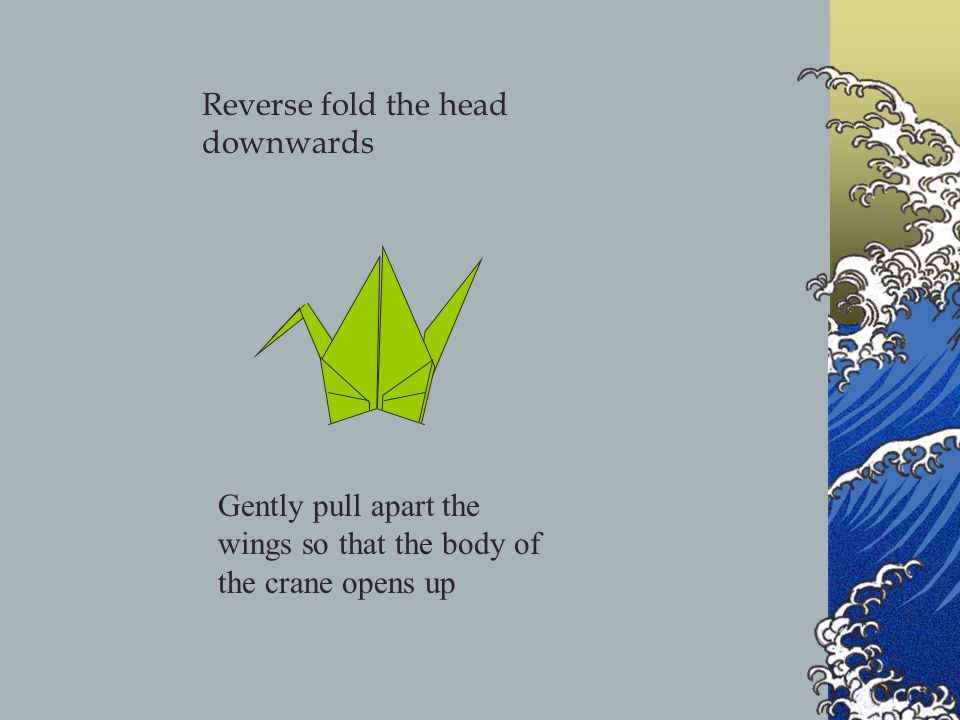 Gently pull apart the wings so that the body of the crane opens up