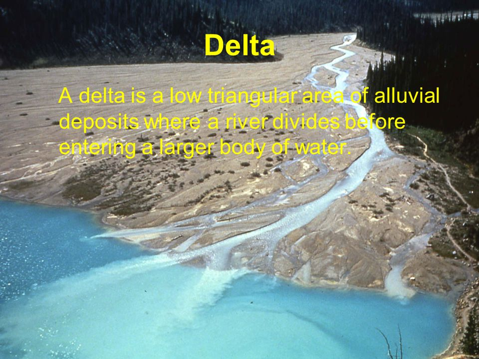 A delta is a low triangular area of alluvial deposits where a river divides before entering a larger body of water.