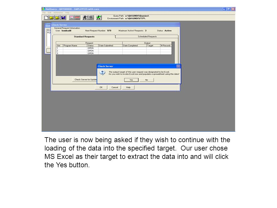 The user is now being asked if they wish to continue with the loading of the data into the specified target.