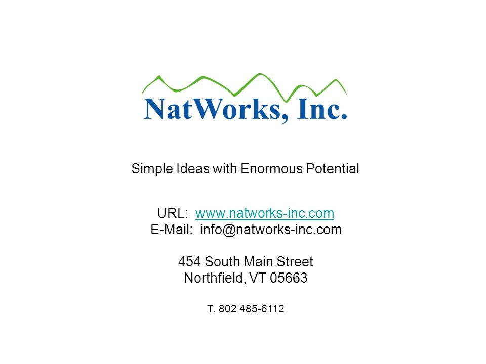 URL: www.natworks-inc.com E-Mail: info@natworks-inc.com 454 South Main Streetwww.natworks-inc.com Northfield, VT 05663 T. 802 485-6112 Simple Ideas wi