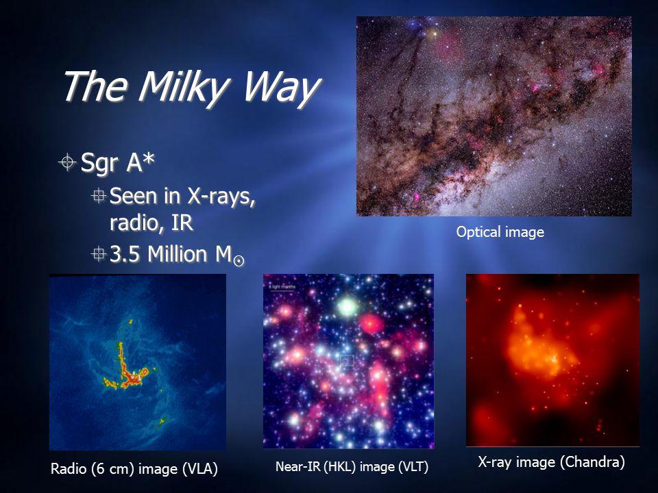 The Milky Way  Sgr A*  Seen in X-rays, radio, IR  3.5 Million M   Sgr A*  Seen in X-rays, radio, IR  3.5 Million M  Near-IR (HKL) image (VLT) Radio (6 cm) image (VLA) X-ray image (Chandra) Optical image