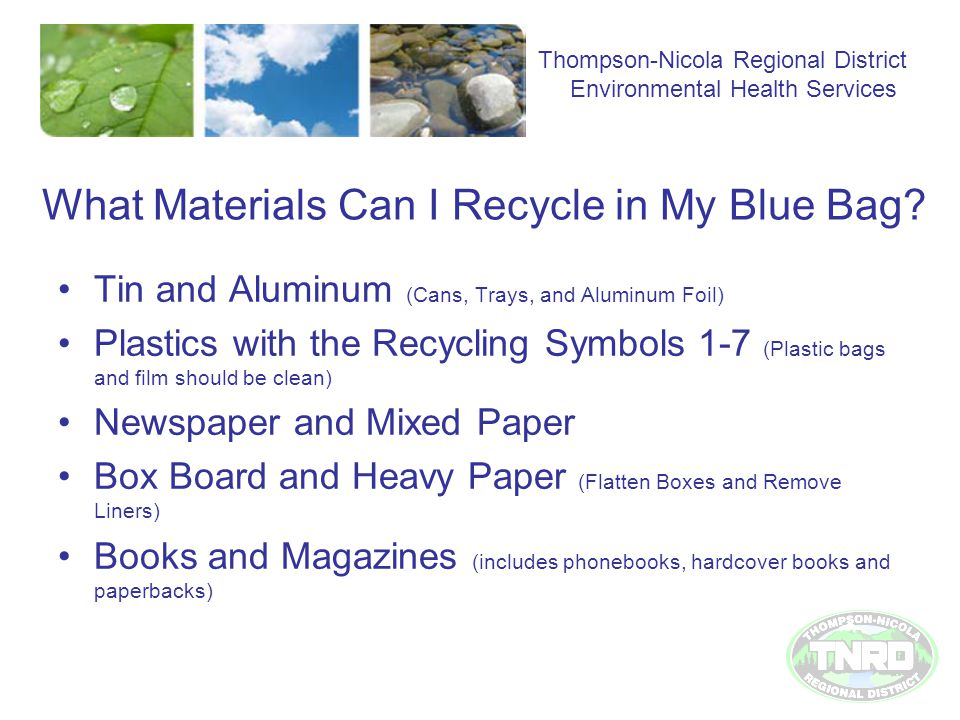 What Materials Can I Recycle in My Blue Bag.