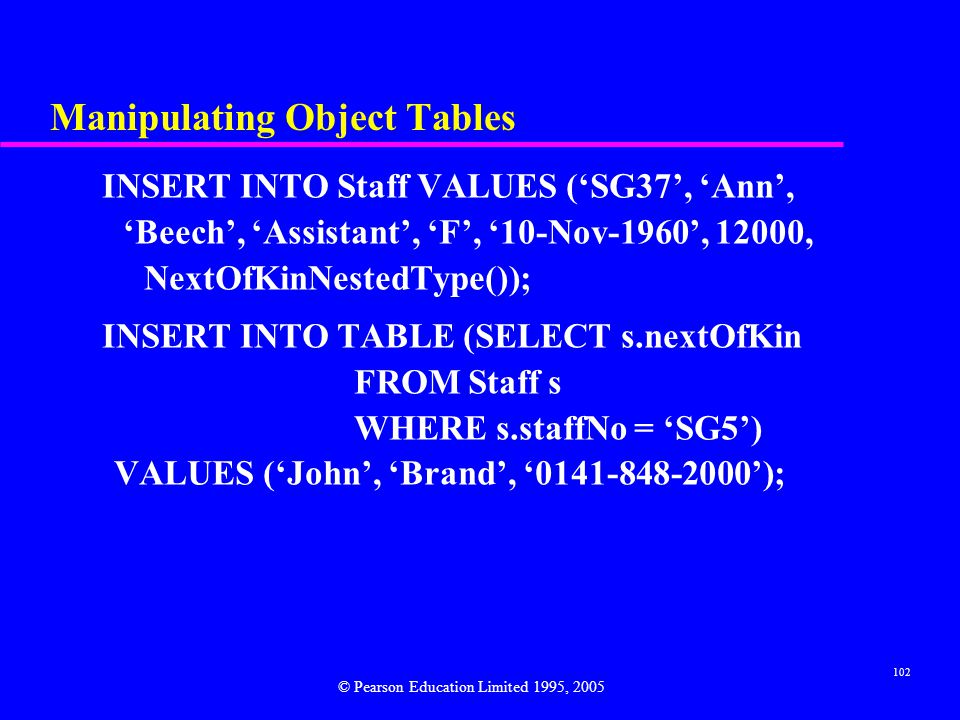 102 Manipulating Object Tables INSERT INTO Staff VALUES ('SG37', 'Ann', 'Beech', 'Assistant', 'F', '10-Nov-1960', 12000, NextOfKinNestedType()); INSERT INTO TABLE (SELECT s.nextOfKin FROM Staff s WHERE s.staffNo = 'SG5') VALUES ('John', 'Brand', '0141-848-2000'); © Pearson Education Limited 1995, 2005