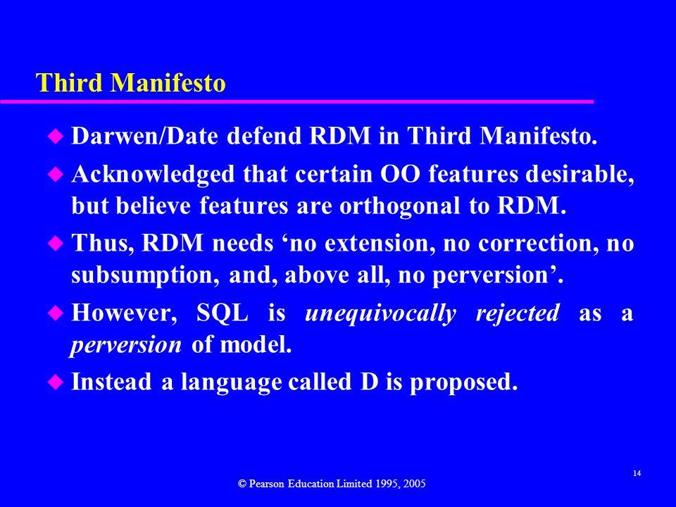 14 Third Manifesto u Darwen/Date defend RDM in Third Manifesto.