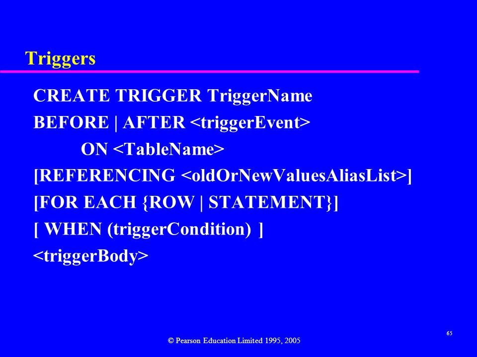 65 Triggers CREATE TRIGGER TriggerName BEFORE | AFTER ON [REFERENCING ] [FOR EACH {ROW | STATEMENT}] [ WHEN (triggerCondition) ] © Pearson Education Limited 1995, 2005