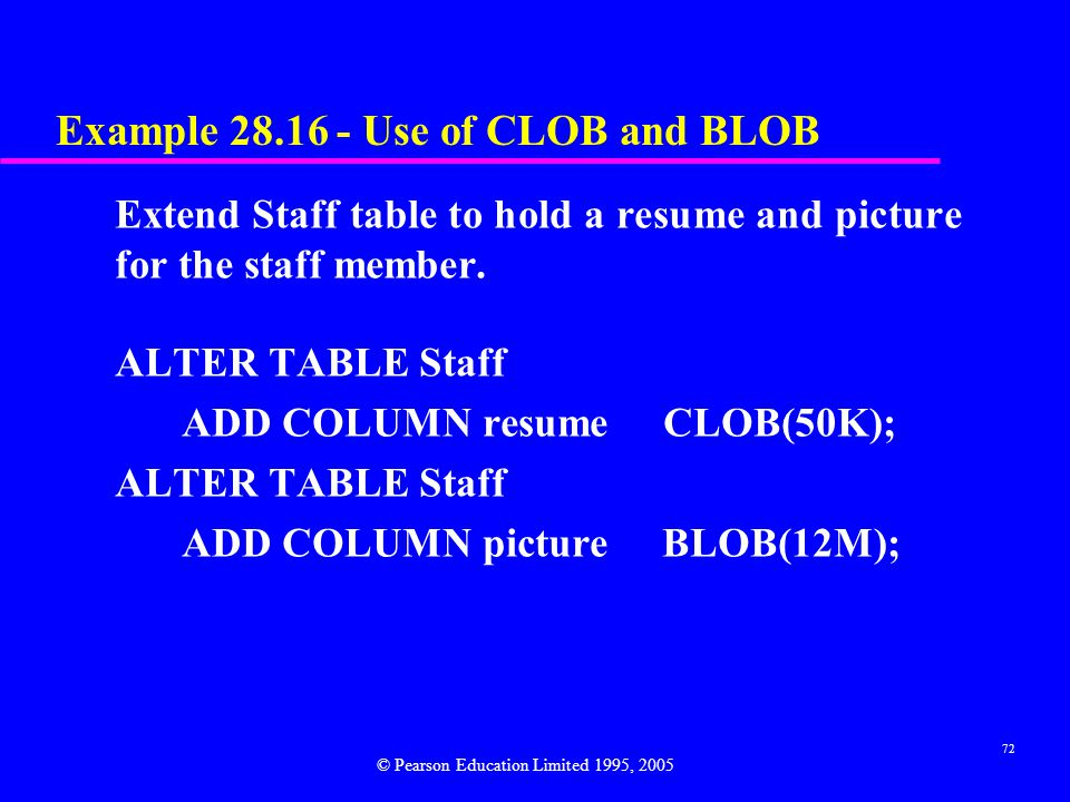 72 Example 28.16 - Use of CLOB and BLOB Extend Staff table to hold a resume and picture for the staff member.