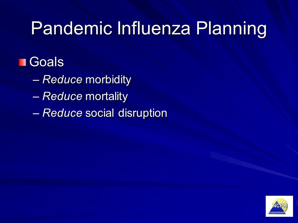 Pandemic Influenza Planning Goals –Reduce morbidity –Reduce mortality –Reduce social disruption
