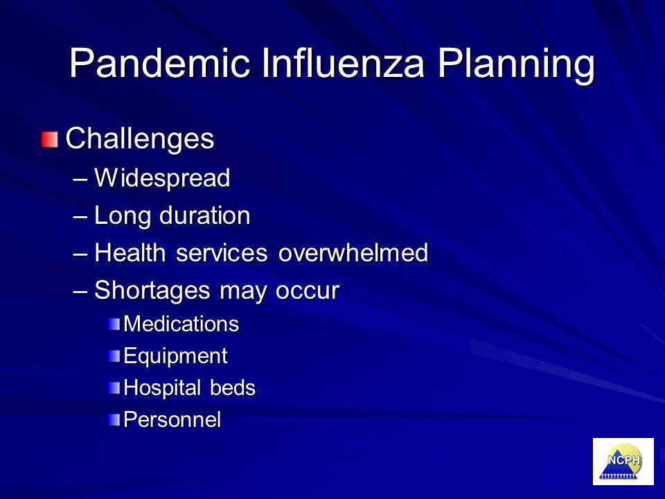 Pandemic Influenza Planning Challenges –Widespread –Long duration –Health services overwhelmed –Shortages may occur MedicationsEquipment Hospital beds