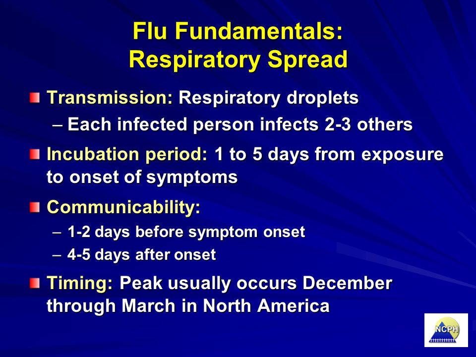 Flu Fundamentals: Respiratory Spread Transmission: Respiratory droplets –Each infected person infects 2-3 others Incubation period: 1 to 5 days from e