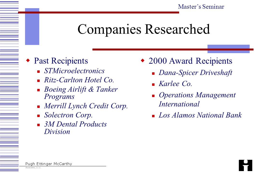 Master's Seminar  Past Recipients STMicroelectronics Ritz-Carlton Hotel Co. Boeing Airlift & Tanker Programs Merrill Lynch Credit Corp. Solectron Cor