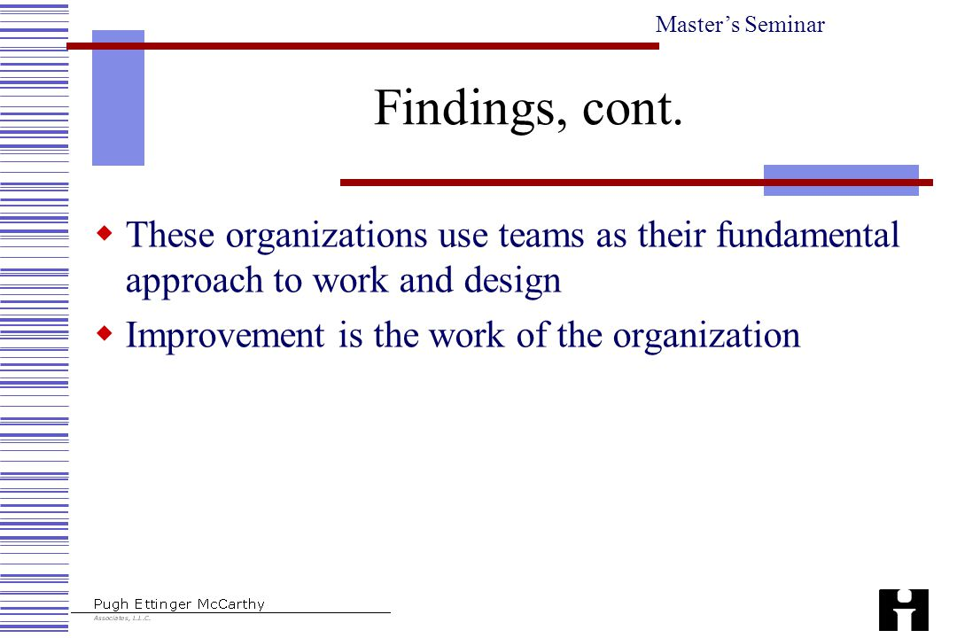 Master's Seminar Findings, cont.