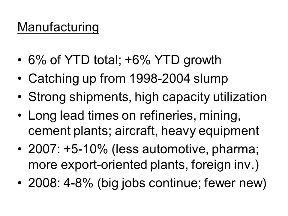 Manufacturing 6% of YTD total; +6% YTD growth Catching up from 1998-2004 slump Strong shipments, high capacity utilization Long lead times on refineries, mining, cement plants; aircraft, heavy equipment 2007: +5-10% (less automotive, pharma; more export-oriented plants, foreign inv.) 2008: 4-8% (big jobs continue; fewer new)