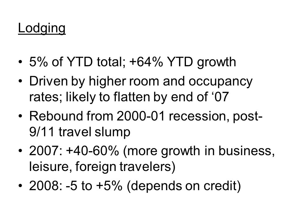 Lodging 5% of YTD total; +64% YTD growth Driven by higher room and occupancy rates; likely to flatten by end of '07 Rebound from 2000-01 recession, post- 9/11 travel slump 2007: +40-60% (more growth in business, leisure, foreign travelers) 2008: -5 to +5% (depends on credit)